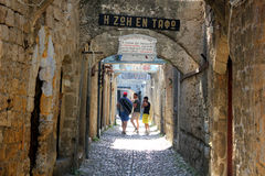Medieval city of Rodos. Medieval street in the city of Rodos  (island of Rhodes, Greece Royalty Free Stock Photography