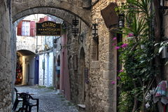City of Rodos. Medieval street in the city of Rodos  (island of Rhodes, Greece Royalty Free Stock Images