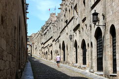 City of Rodos. Medieval street in the city of Rodos  (island of Rhodes, Greece Stock Photos