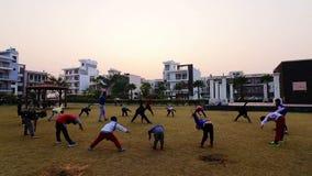 Children`s doing exercise in public park Rohtak Hariyana in India. 29-12-2018 city Rohtak state Hariyana in India children`s doing exercise in early morning stock video