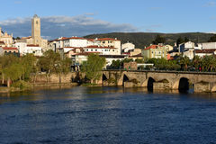 City and Romanesque bridge Mirandela,. Tras-os-Montes Stock Images