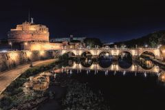 City of Rome at night stock photography