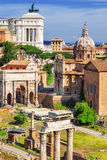 The city of Rome and parts of the Roman Forum as seen from the palatine Hill Royalty Free Stock Photo
