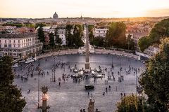 The city of Rome at sunset stock photo