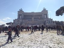City of Rome under the snow stock images