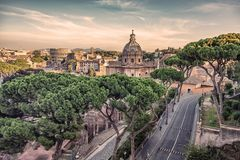 The city of Rome in the afternoon stock images