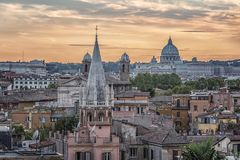 The city of Rome in the afternoon stock photo