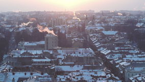 City roof house street winter sunset smoke. Sky at Dawn of the Pipe Smoke stock footage