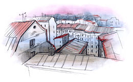 City roofs. Old red city roofs view Royalty Free Stock Photography