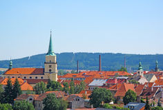 City roofs and church in historical center. Of city Rokycany, Czech republic, Central Europe. Place where was a demarcation line in second world war Stock Photography