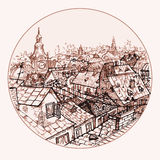 City roofs. Illustration in circle with city roofs Stock Photos