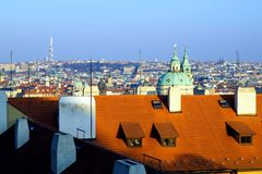 City roofs. Praga, Czech Republic in the sunset royalty free stock image