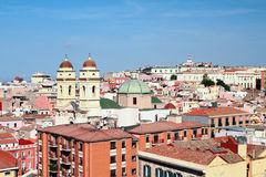 City roofs and temple. Cagliari, Sardinia Royalty Free Stock Photos