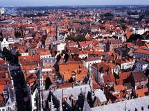 City rooftops, Bruges, Belgium. Stock Photography
