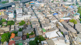 City rooftops. With compact neighborhood,Bangkok Thailand Stock Images