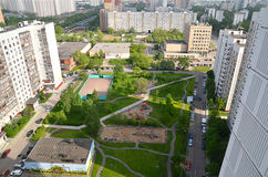 City rooftops. Inner court landscaped summer day in Sunny weather Stock Photos