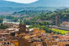 City rooftops and river Arno in Florence, Italy royalty free stock photos