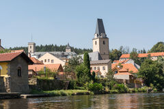 City Rosenberg - Czech Republic. City Rosenberg, St. Mary's Church and castle in the background - Czech Republic royalty free stock photography