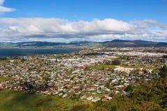 City Of Rotorua. Hill top view of the city of Rotoua Stock Photos