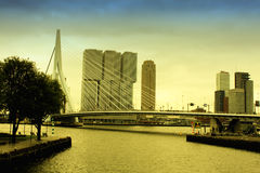 City of Rotterdam with amasing Erasmus Bridge Stock Image