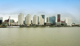 City of Rotterdam downtown skyline by the river in South Holland Royalty Free Stock Images