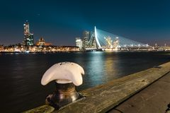 The skyline of Rotterdam and Erasmusbrug, view is from the north part of the river royalty free stock photo