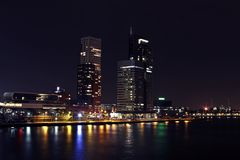The city Rotterdam by night in Netherlands Royalty Free Stock Photos