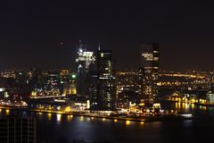 The city Rotterdam by night in Netherlands Stock Images