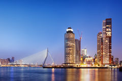 City of Rotterdam Skyline in the Evening Stock Images