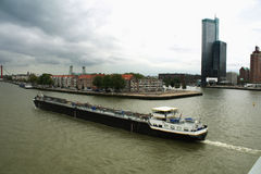 City of Rotterdam uptown skyline by the river in South Holland w Royalty Free Stock Photo