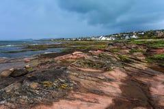 City at the rough coastline of Scotland Stock Photo