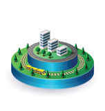 City on a round base Stock Photo