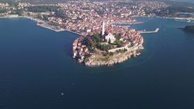 City of Rovinj Croatia from the sky. Aerial shot stock video footage