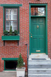 City Row Home. Front door of Philadelphia row house stock images