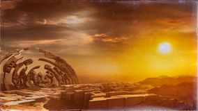 City Ruins On Deserted Earth. Vintage style concept art about the view of the ruins of a future city in completely deserted planet Earth environment after the Stock Image