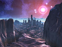 City Ruins on Hostile Alien Planet. Ruined and abandoned city on barren alien world Stock Photography