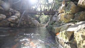 City ruins Olimpos bridge through a stream stock video footage