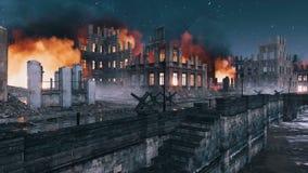 City ruins riverfront destroyed after war at night 4K