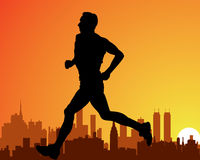 City and a running man Stock Images