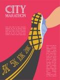 City running marathon. athlete runner feet running on road closeup. illustration vector Royalty Free Stock Photos