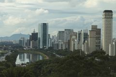 Sao Paulo Brazil, Marginal Pinheiros Avenue and the Pines River. City of São Paulo Brazil South America, Marginal Pinheiros Avenue and Pinheiros River royalty free stock images