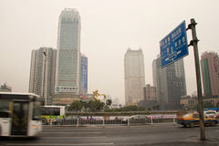 City's Air Pollution in Changsha Royalty Free Stock Photo