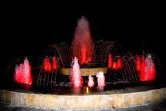 At the city`s fountains, you can rest and relax while looking at the new shapes of the water stream. Multimedia colorful fountain royalty free stock photography