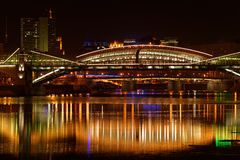 The city's river night. Bridges are illuminated by colored lights. Moscow, Russia Stock Image