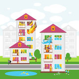 The City`s Skyline. Illustrations on the Theme of Property Insurance Against Accidents. Illustrations for design projects of insurance companies Royalty Free Stock Photos