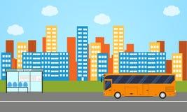 The city's skyline. The public bus. Flat stule. Stock Photography