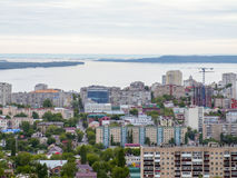 The city`s skyline. The Russian province of Saratov. High-rise residential buildings, the Volga river Stock Images