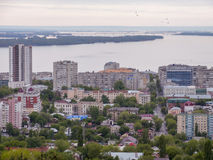 The city`s skyline. The Russian province of Saratov. High-rise residential buildings, the Volga river Stock Photos
