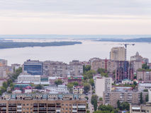 The city`s skyline. The Russian province of Saratov. High-rise residential buildings, the Volga river Stock Photo