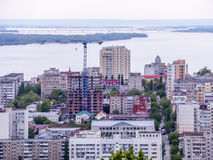The city`s skyline. The Russian province of Saratov. High-rise residential buildings, the Volga river Stock Photography